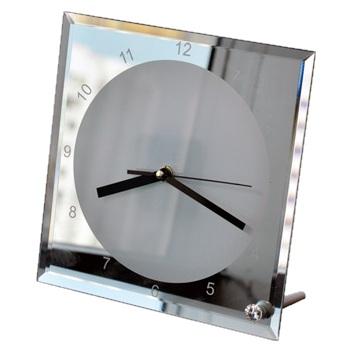 Часы стеклянные зеркальные 20х20см на ножке (BL-14)
