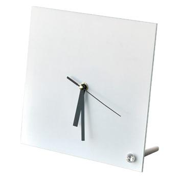 Часы стеклянные белый фон 20х20см на ножке (BL-26)